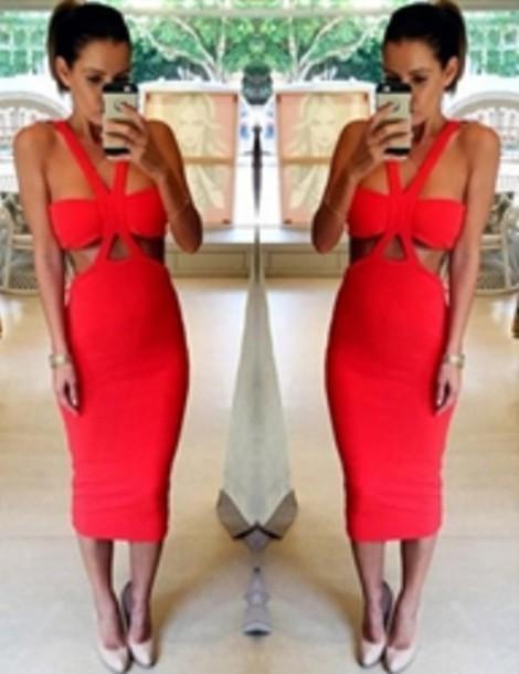 dress red dress red bandage dress bandage dress red midi dress bodycon dress open shoulders dress