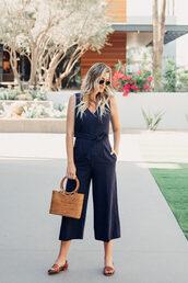 jumpsuit,tumblr,blue jumpsuit,cropped jumpsuit,bag,brown bag,sandals,flat sandals,sunglasses,shoes