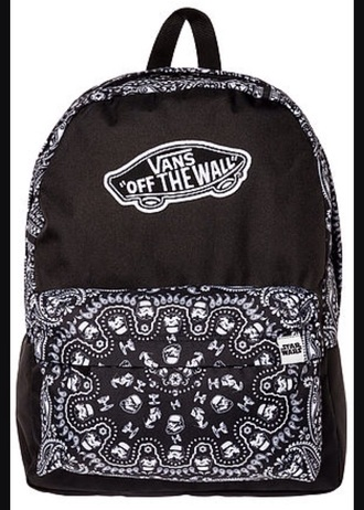 bag vans backpack back to school black white star troopers star wars darth vader