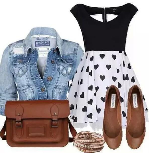 dress black white heart jean jackets purse bracelets flats blue beige shoes jacket bag coat
