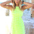 Green Mini Dress - Neon Lime Dress with Floral | UsTrendy