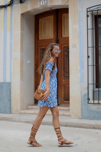 b a r t a b a c blogger strappy flats printed dress brown leather bag
