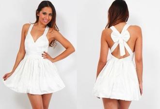 dress white bow dress bow back dress