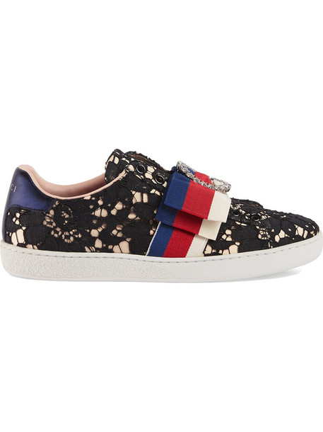 gucci women sneakers lace black satin shoes
