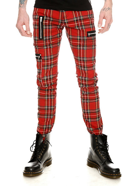 Royal Bones Red Plaid Zip Skinny Pants | Hot Topic