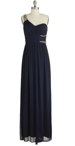 dress one shoulder navy dress rhinestones floor length dress modcloth