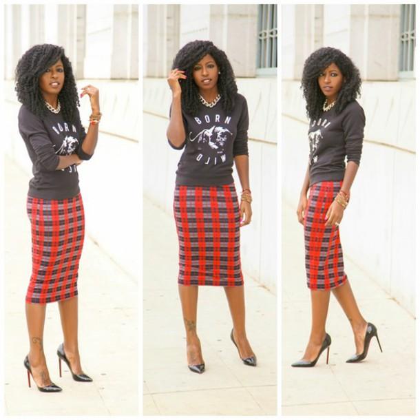 skirt plaid skirt midi skirt vintage inspired