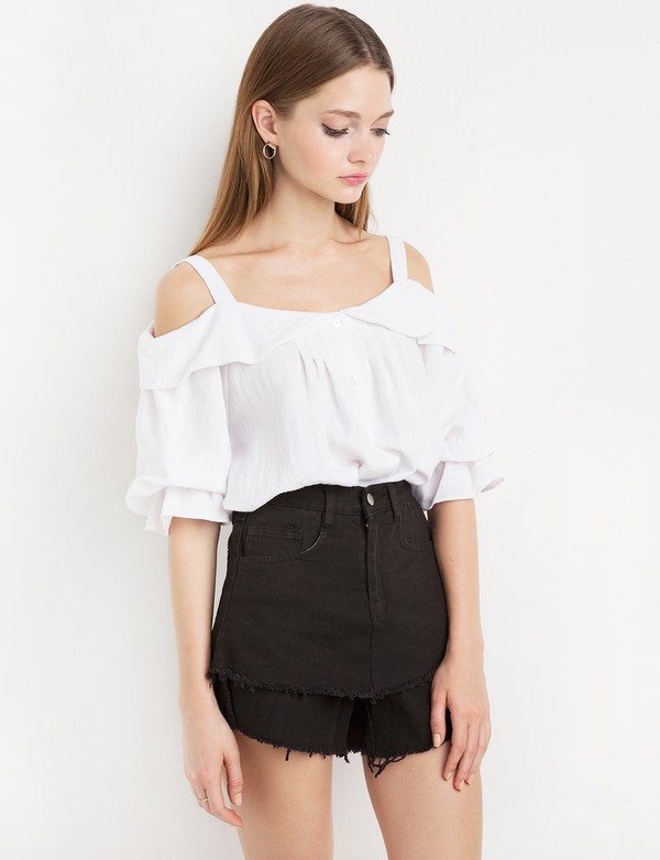 top white collar ots babydoll top babydoll top ots top white top summer outfits summer outfits shoulder straps pretty tops off the shoulder off the shoulder top