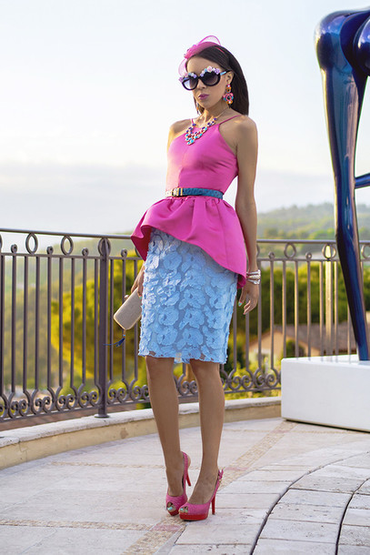 macademian girl top skirt shoes bag sunglasses belt jewels