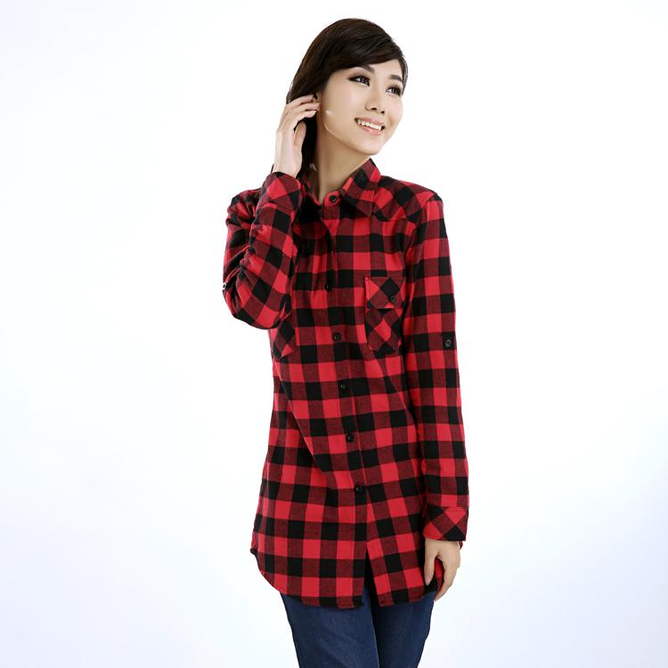 shipping Fashion casual cotton medium long 100% plaid shirt ...