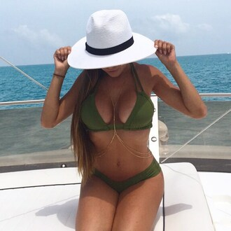 swimwear top bikini bikini top miami california green olive green beach summer ocean blue love cute hot hot bikini white hat hat bikini bottoms gorgeous body chain gold body chain gold double women solid color montce montce swim