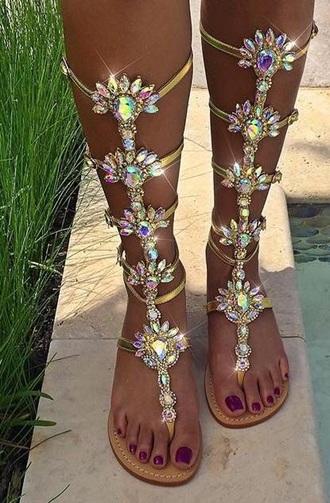 shoes sandals embellished sandals flat sandals rhinestones