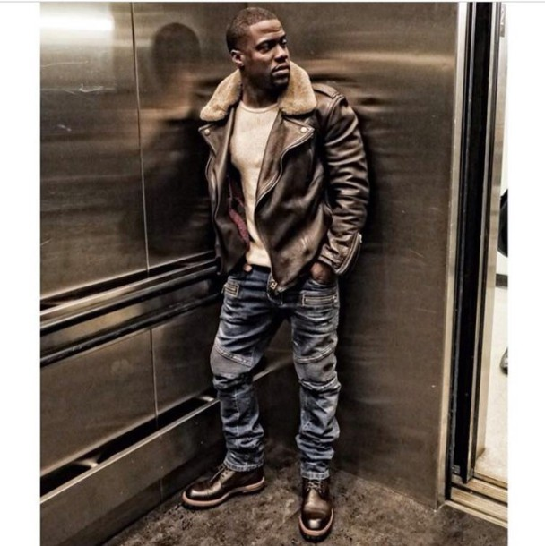 jacket brown leather jacket kevin hart pilot