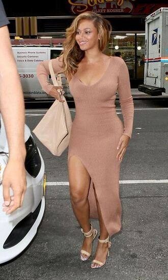 dress nude nude dress bodycon dress beyonce sandals slit dress purse bag