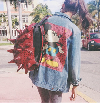 jacket disney mickey mouse denim summer bag funny