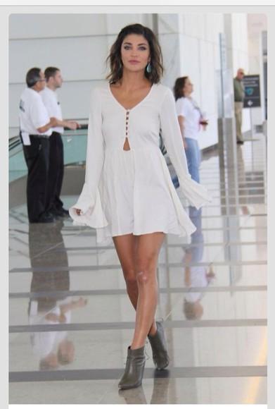 white dress cut-out dress celebrity dresses jessica shzor bell sleeved dress