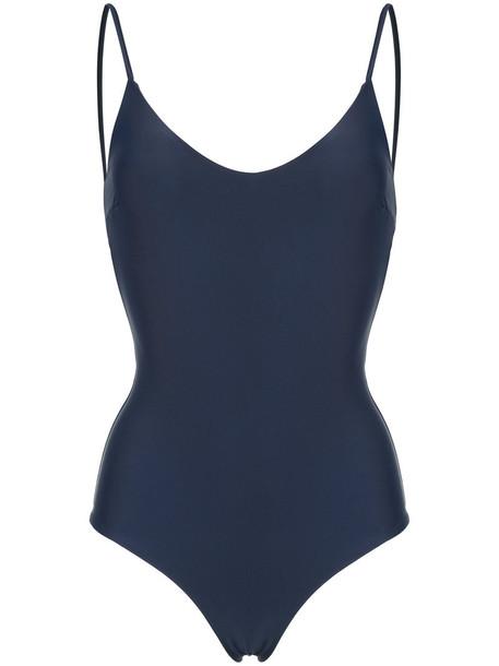 Matteau - The Plunge Maillot swimsuit - women - Nylon/Spandex/Elastane - 1, Blue, Nylon/Spandex/Elastane
