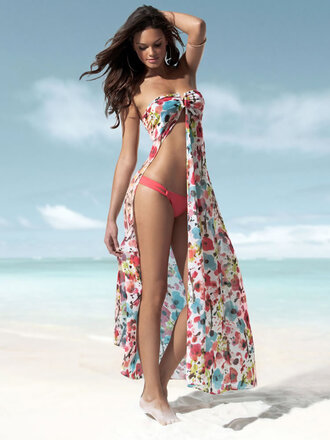 swimwear cover up silk floral swimwear slits sexy flowy colorful
