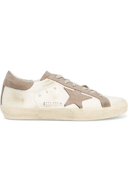 GOLDEN GOOSE DELUXE BRAND suede sneakers sneakers suede satin white beige shoes