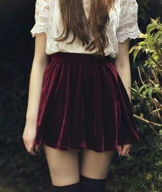 skirt velvet red velvet maroon skater skirt black thigh highs white white lace white lace shirt thigh highs shirt