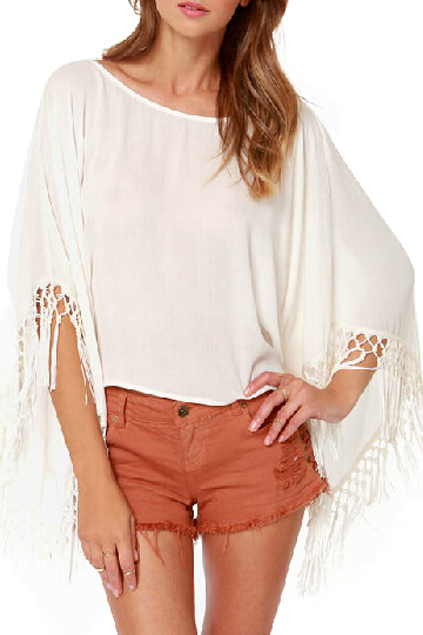 ROMWE | Tassels Sleeves Loose Blouse, The Latest Street Fashion
