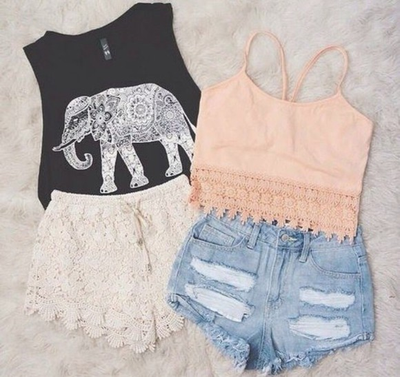 top lace shorts vest elephant top elephant