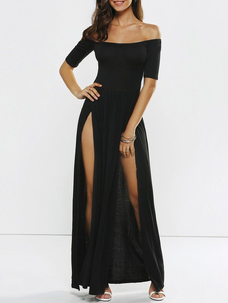 dress off the shoulder off the shoulder dress black black dress long dress black long dress long prom dress long prom dress black prom dress slit dress slit front slit double slit double slit skirt