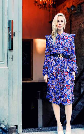 yael steren blogger dress belt shoes jewels make-up nail polish gucci belt printed dress midi dress long sleeve dress pumps gucci