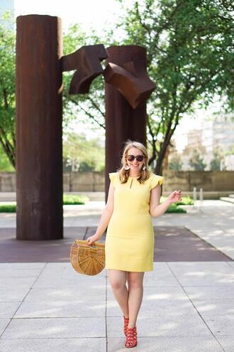 glitter&spice blogger dress shoes bag jewels sunglasses yellow dress sandals cult gaia bag spring outfits