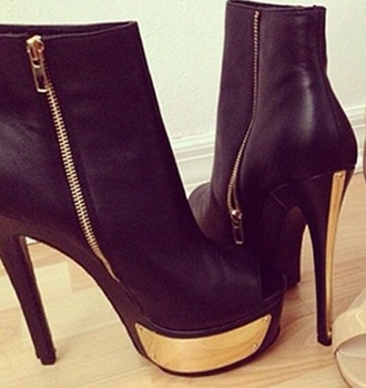 shoes black anckle boots gold gold details