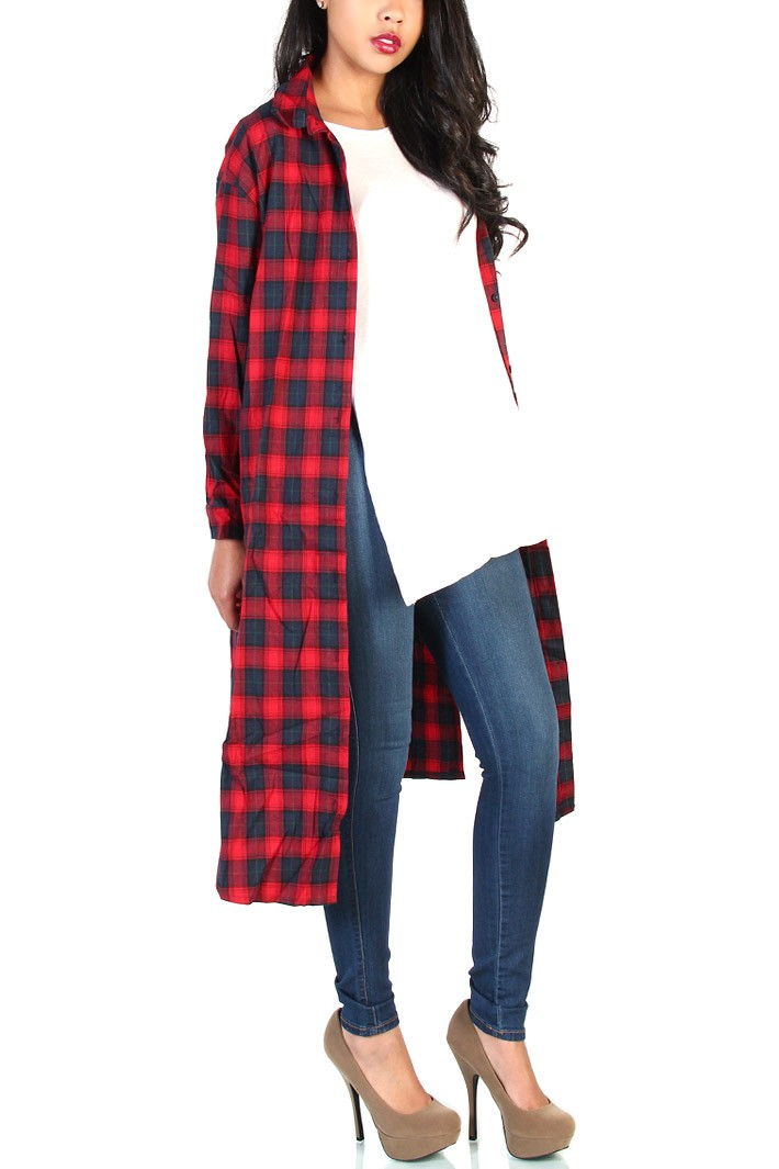 36 Print Oversized Flannel Shirts Red