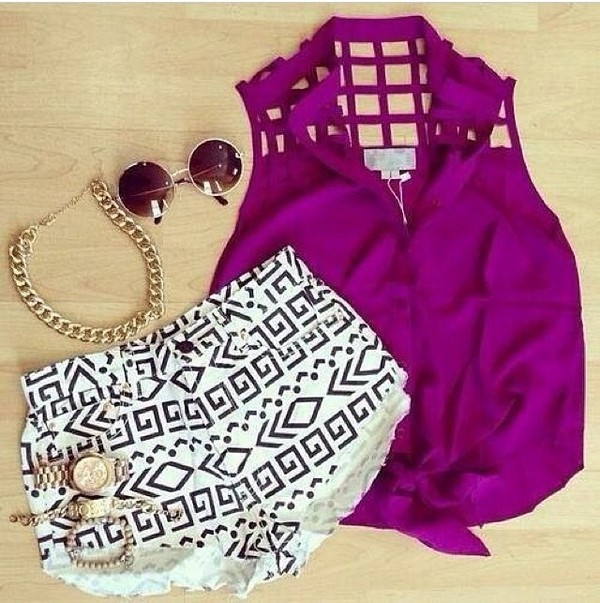 shirt blouse shorts jewels sunglasses tribal pattern black and white aztec