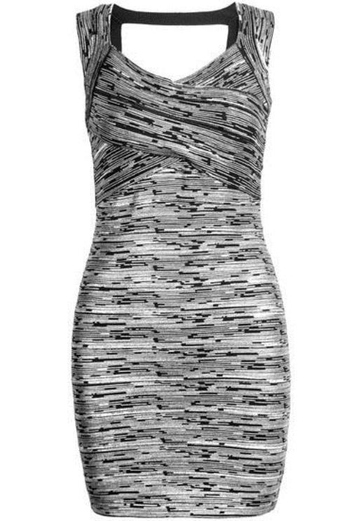 Silver and gray sleeveless bandage dress