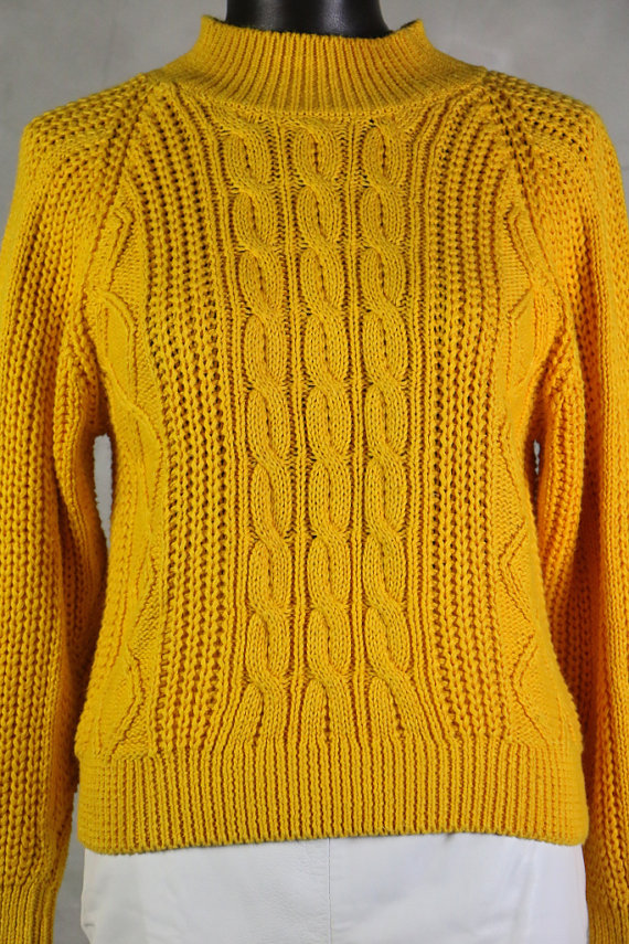 knit, vintage sweater, 80's mustard yellow chunky cable knit ...
