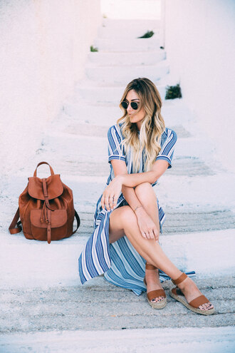 a little dash of darling blogger dress sunglasses bag shoes midi dress striped dress backpack espadrilles