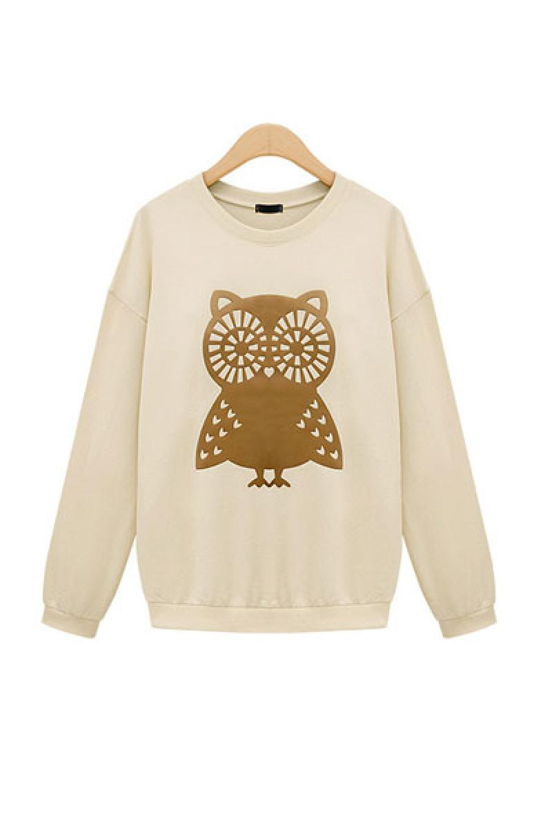 New Owl Loose Pullover Fleece Sweater ,Cheap in Wendybox.com