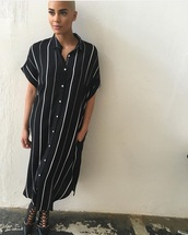dress,stripes,black and white,maxi dress,striped dress,blonde hair,model