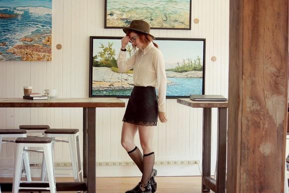 white blouse blogger secret garden lace skirt knee high socks