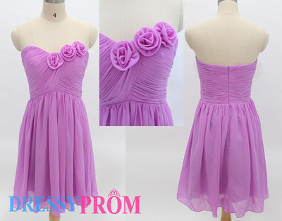Lovely Princess Sweetheart Ruched Flowers Short Lilac Prom/Evening/Party/Homecoming/cocktail /Bridesmaid/Formal Dresses Under 100 8134 · DressyProm · Online Store Powered by Storenvy