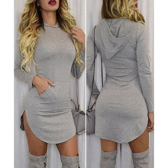 dress grey grey sweater grey dress hoodie sweater dress bodycon dress casual streetwear rose wholesale casual dress urban streetstyle fashion style trendy sexy stylish cool swag fall outfits winter outfits long sleeves tight badass top gray hoodie gey soft