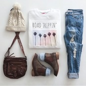 sweater,bag,brown bag,crossbody bag,hippie,shoes,hat,shorts,shirt,roadtrip,palm tree print,white t-shirt,jeans,blouse,teenagers,t-shirt,travel,road trippin,phone cover,country bag,outfit,tumblr outfit,weheartit,grunge,pale,boho,boho chic,kawaii,california,summer,fall outfits,winter outfits,ripped jeans,blue jeans,felt hat,hat beanies,country style,boots,winter boots,brown,ankle boots