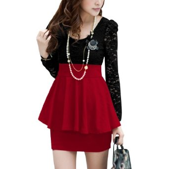 Amazon.com: Allegra K Women Scoop Neck Long Sleeve Pullover Lace Patchwork Peplum Dress Red Black XS: Clothing