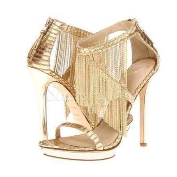 shoes high heels golden shoes wheretoget. Black Bedroom Furniture Sets. Home Design Ideas