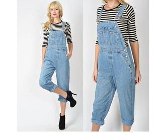 jumpsuit denim overalls denim jeans overalls 90s style vintage