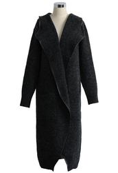 coat,shawl collar longline wool-blend coat in dark grey,charcoal,longline,wool-blend