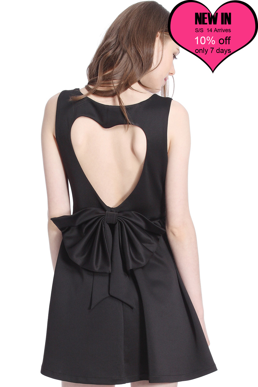 ROMWE | ROMWE Heart-shaped Cutout Sleeveless Black Dress, The Latest Street Fashion