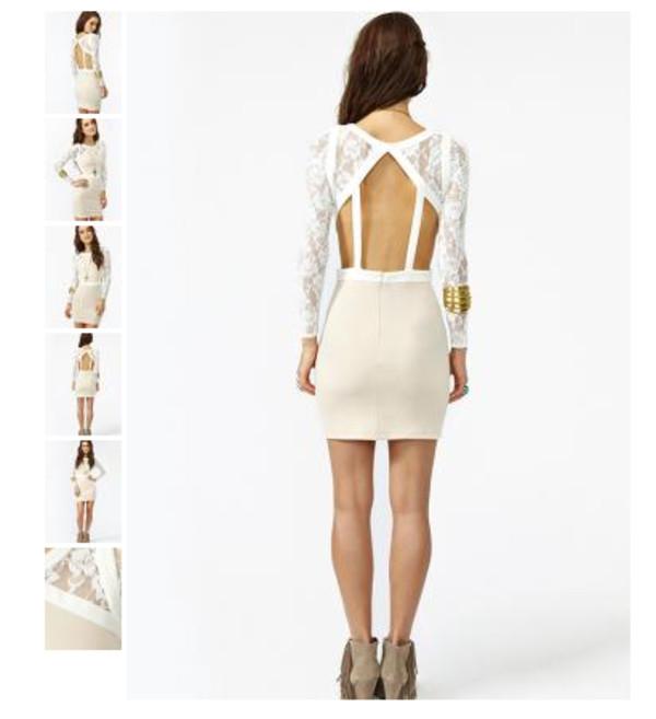 dress lace prom dress blush ivory cut-out mini ivory dress
