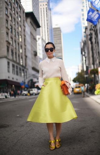 hallie daily blogger blouse shoes skirt sunglasses bag