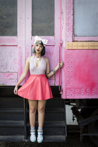 dress pink pink dress hot pink bow heart hair bow heart choker choker necklace pink choker melanie martinez hair accessory jewels retro pastel hair short hair