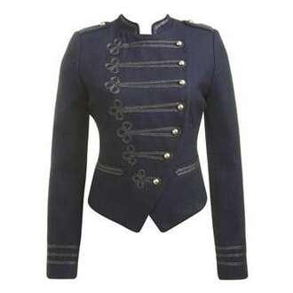jacket napoleon coat army green jacket cute denim denim jacket gold buttons